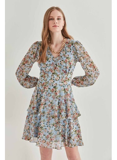 Vitrin Çıtır Çiçek Desenli V Yaka Elbise Mavi
